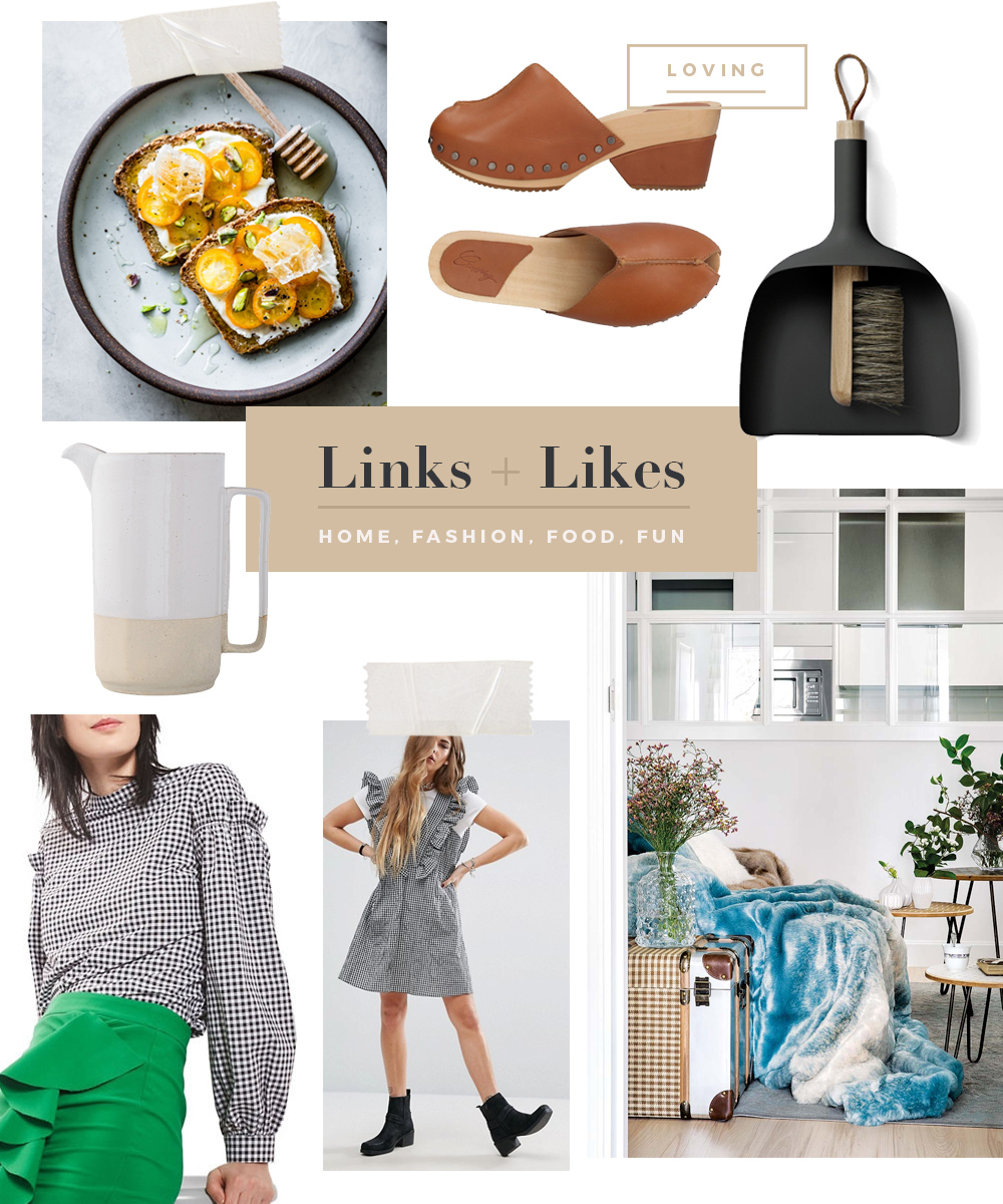 Links + Likes: Gingham, Mules, a Ceramic Pitcher, Open-Faced Sandwiches, a Hygge Room + a Sweeper Set